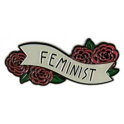 Pin feminista roses i pergamí