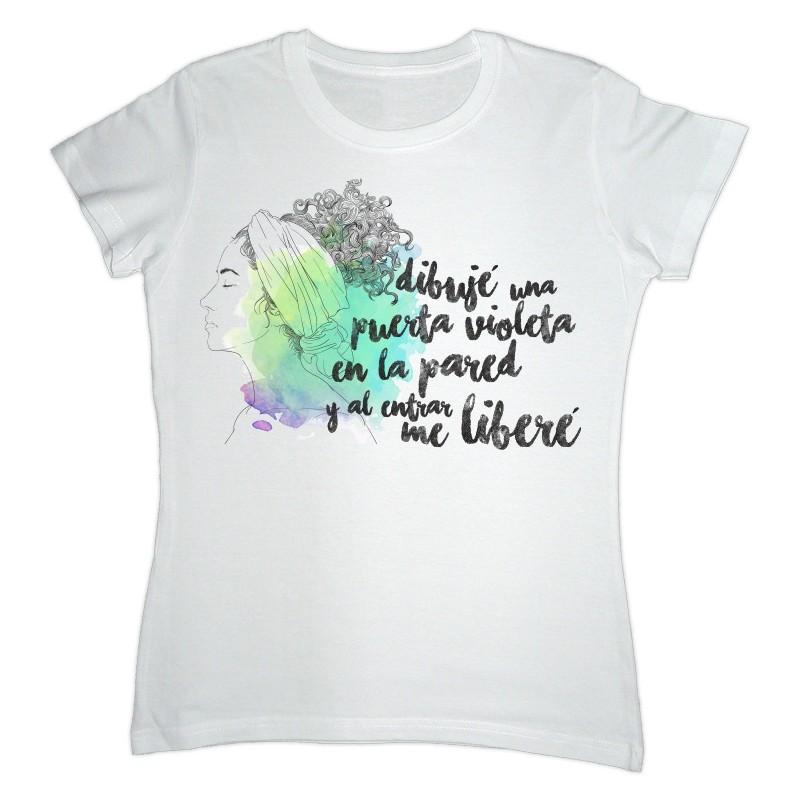 """Camiseta branca """"Dibujé una puerta violeta"""""""