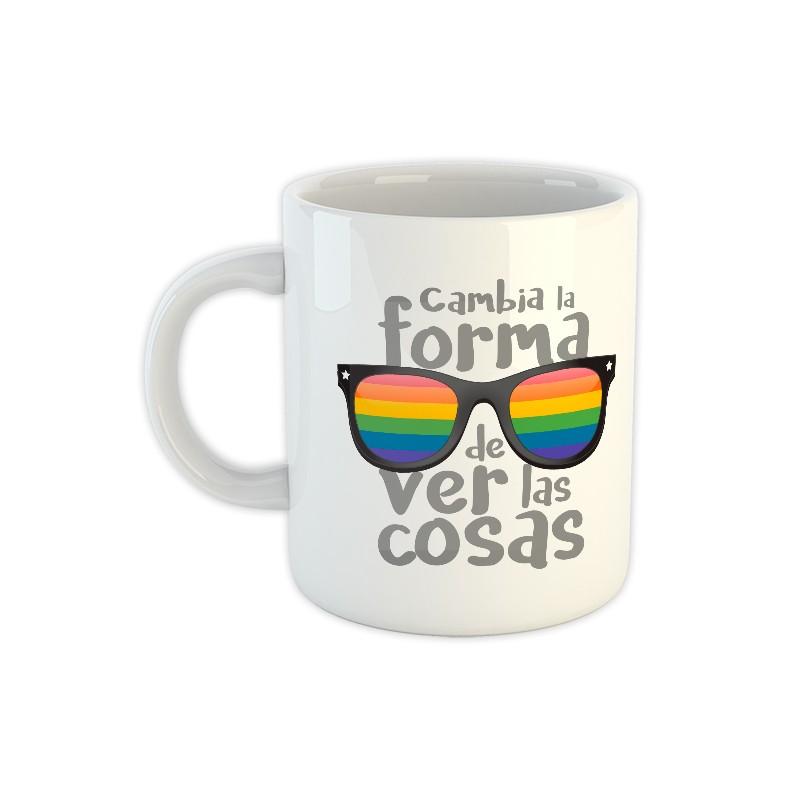 Tassa ceràmica blanca ulleres colors LGTBI