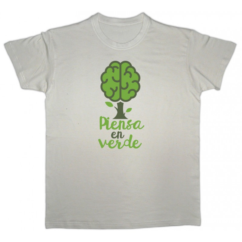 "Camiseta beige cerebro verde ""piensa en verde"""