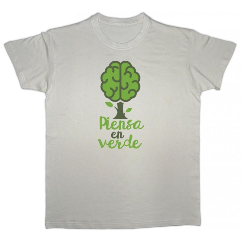"""Samarreta beix cervell verd """"piensa en verde"""""""