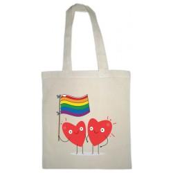 Oihal zuriko poltsa: bihotzak LGTBI