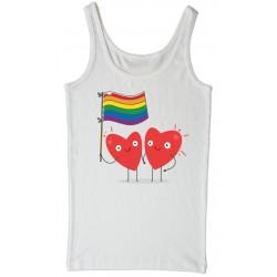 Camiseta blanca  tirantes Corazones LGTBI