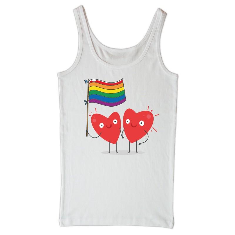 Camiseta branca tirantes Corazóns LGTBI