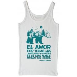Camiseta de tirantes blanca ecologista Darwin