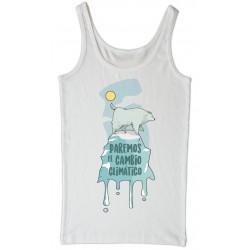 Camiseta tirantes branca Cambio climático