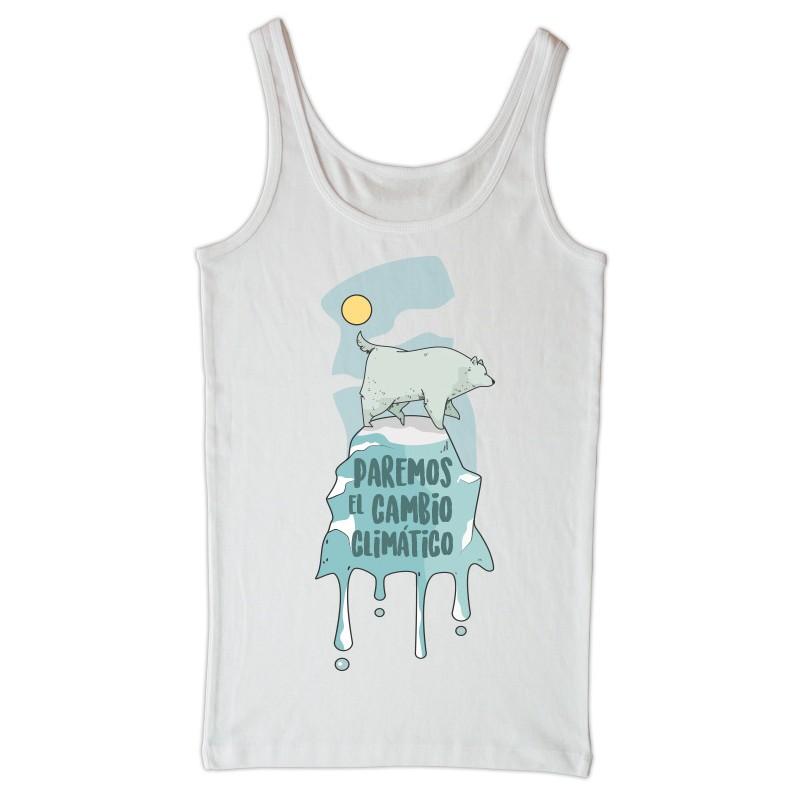 Camiseta tirantes blanca Cambio climático