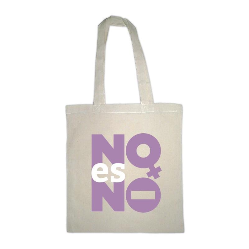 Bolsa blanca de tela con mensaje NO es NO